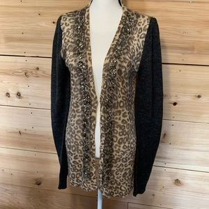 BKE Cheetah jeweled cardigan • Size Large